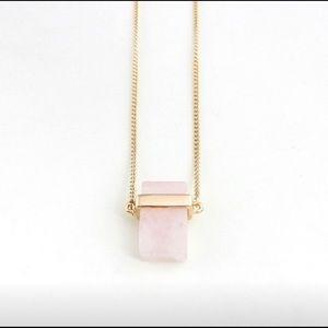 18k Natural Rose Quartz Pendant Necklace